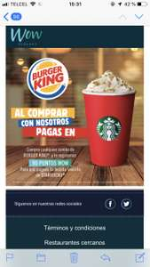 Wow Rewards: Compra un combo en Burger King y llévate una bebida gratis en Starbucks