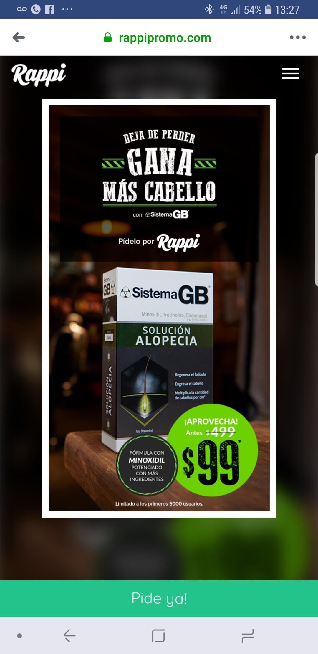 RAPPI: Sistema GB de 499 pesos a solo 100 pesitos