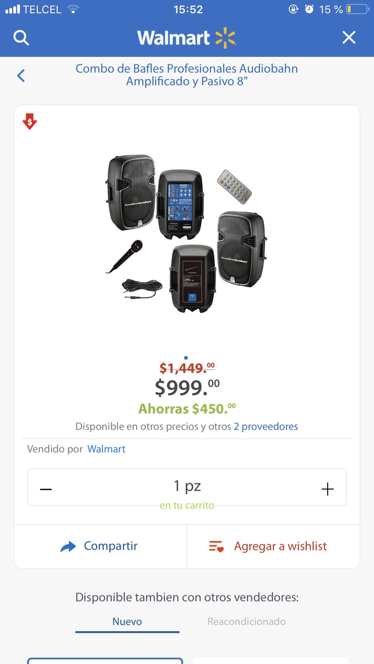 Walmart: Combo de bocinas Audiobahn