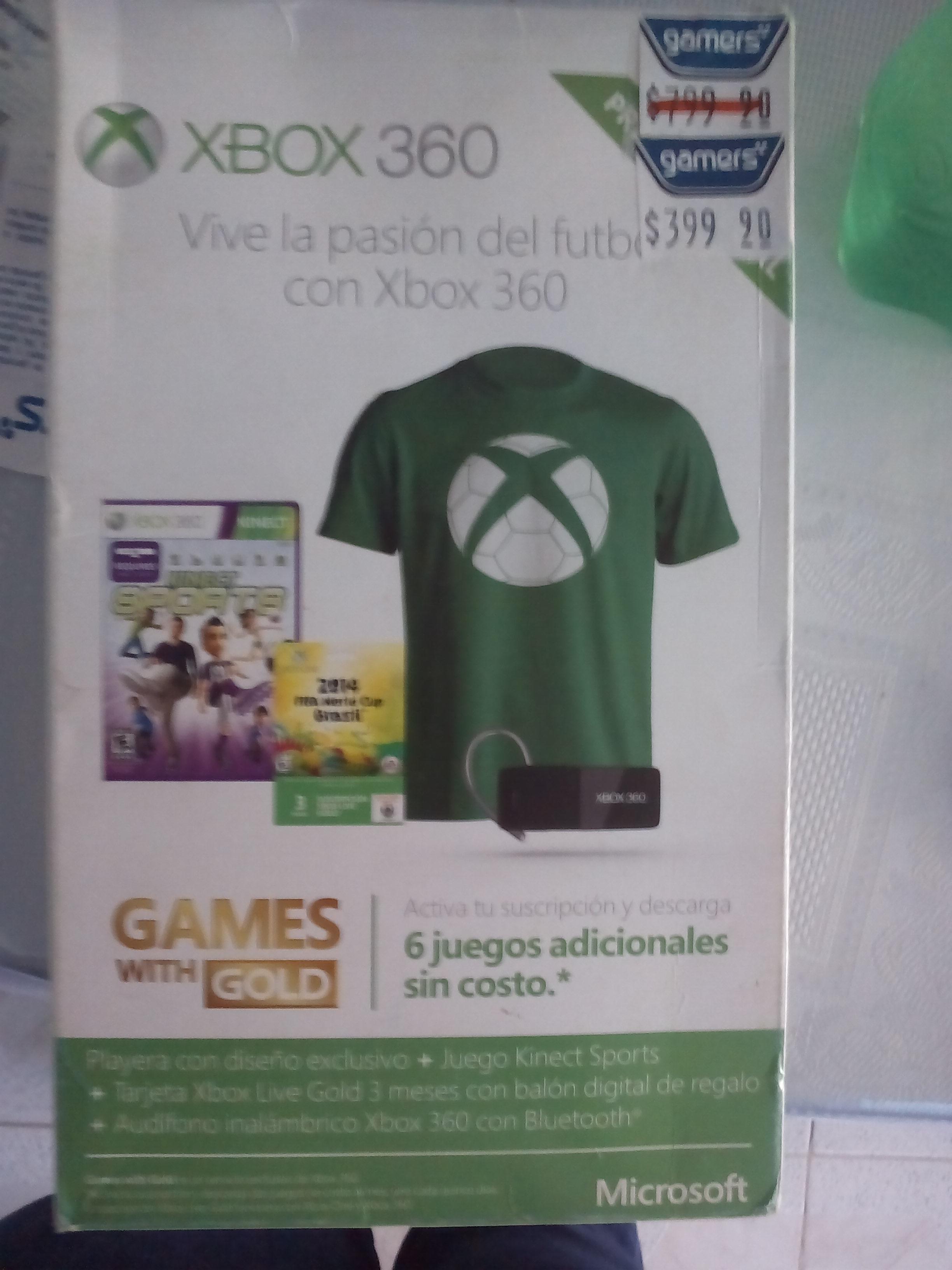 Gamers: Diadema inalambrica y Gold Xbox 360 $400 (bundle del mundial)