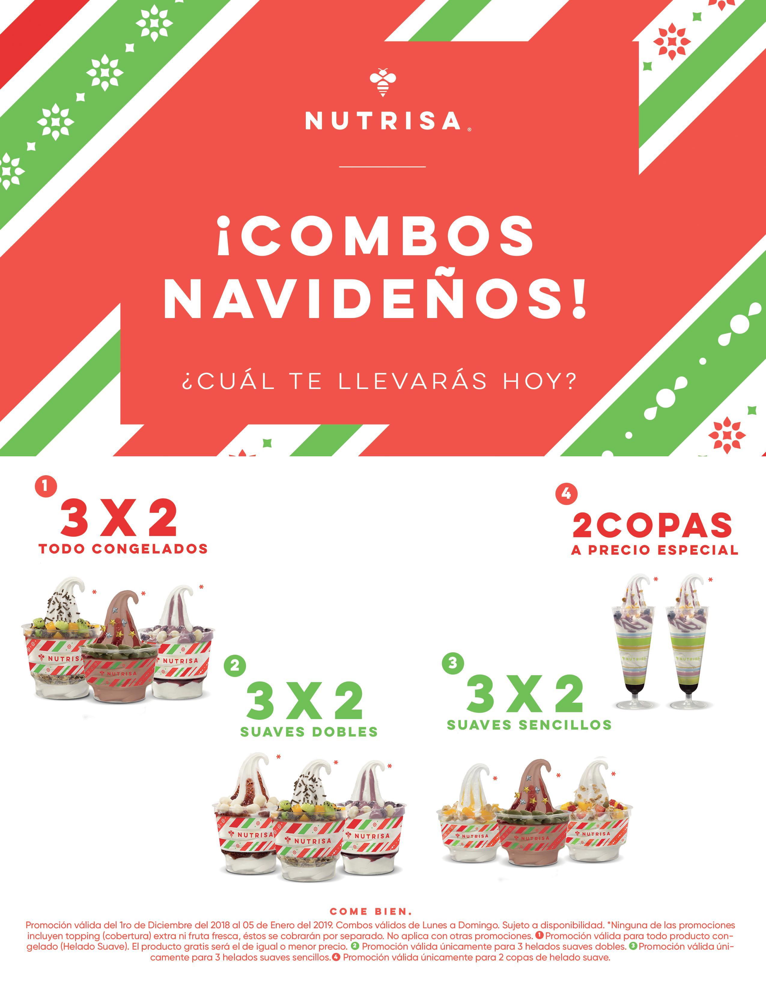 Nutrisa: 3x2 Todo Diciembre en Todos los Helados.