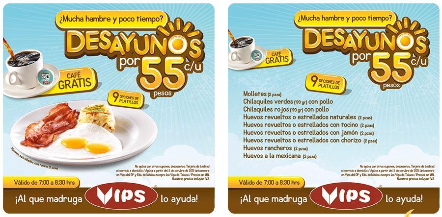 Vips: 9 tipos de Desayunos por $55 c/u