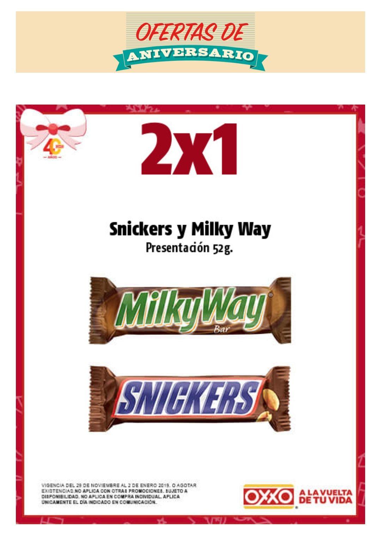 Oxxo: 2x1 en Snickers y Milky Way los miércoles