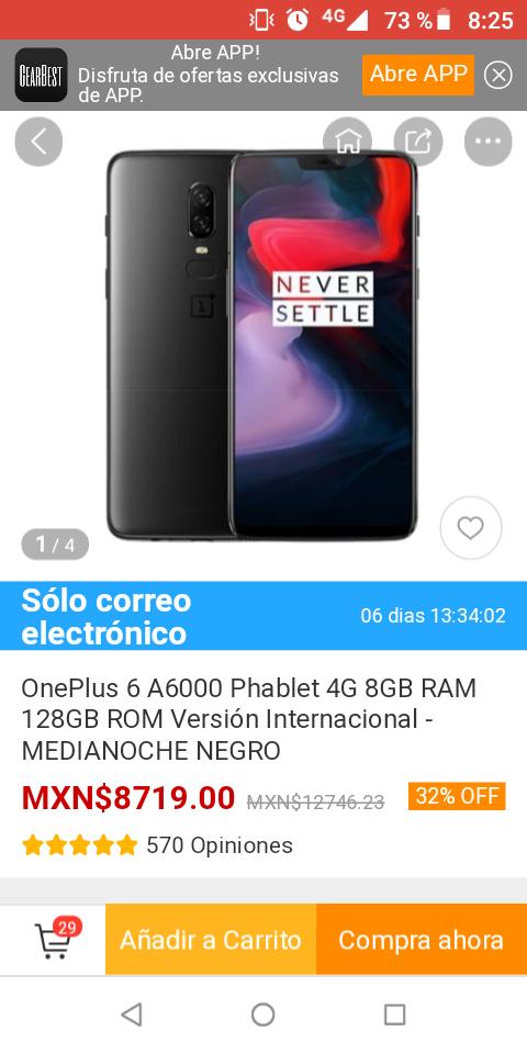 Gearbest: One Plus 6. 8 de Ram y 128 GB. Versión internacional. Media noche negro.