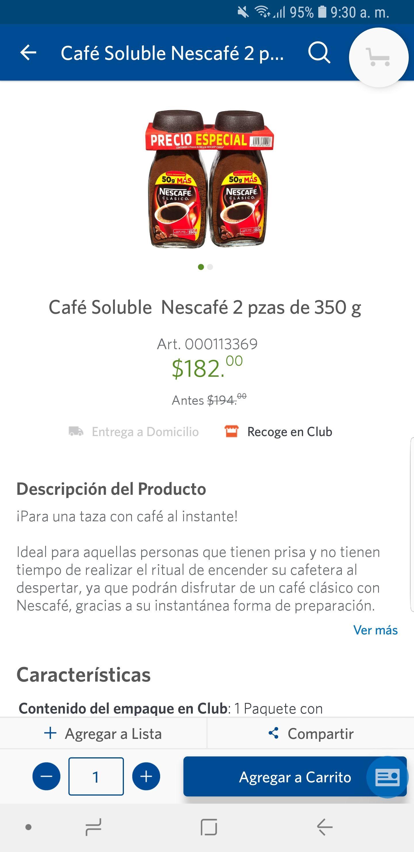 Sam's Club: Nescafe 700 gr