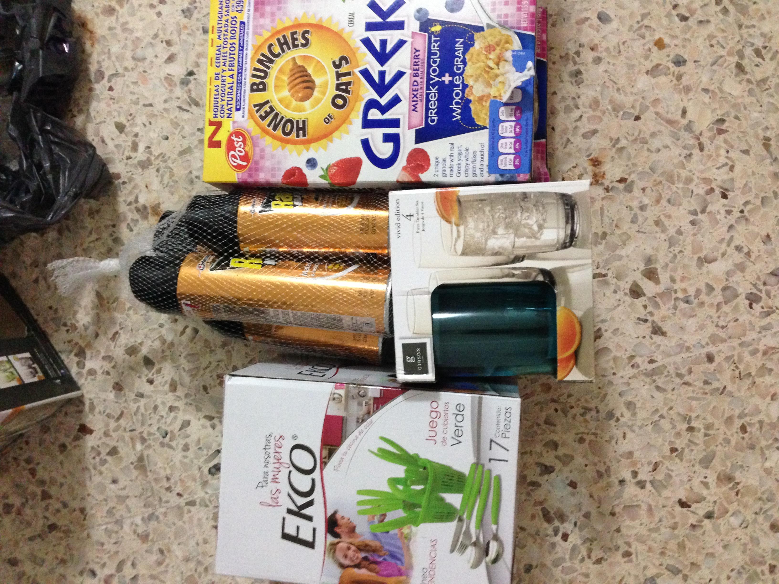 Walmart: cereal Honey Bunches GREEK $29.90, 4 vasos Gibson $35.02, paquete Raid Max 2 por $80