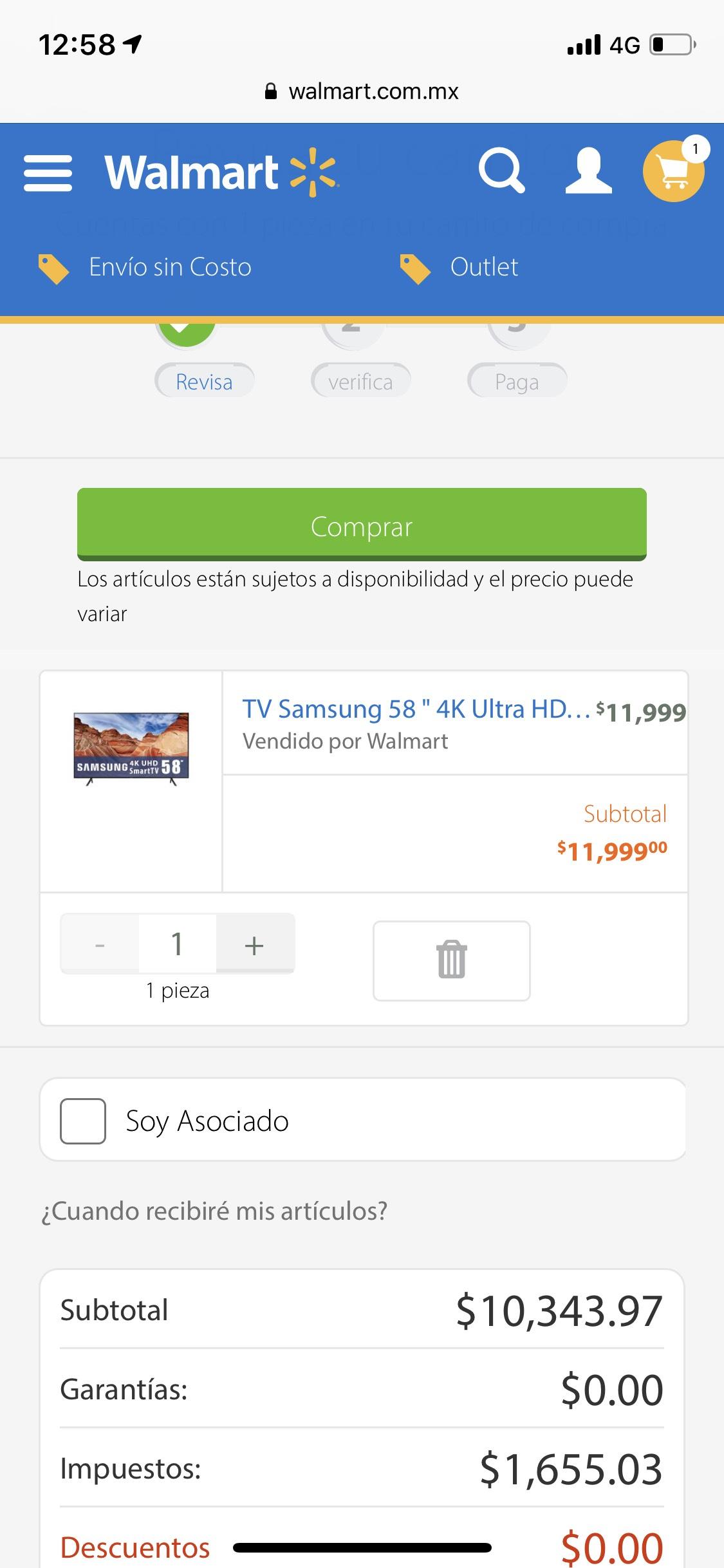 "Walmart: Smart Tv samsung 58 "" 4k UN58NU7100FXZX"