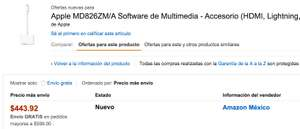 Amazon.com.mx Adaptador Lightning - HDMI (MD826ZM/A)