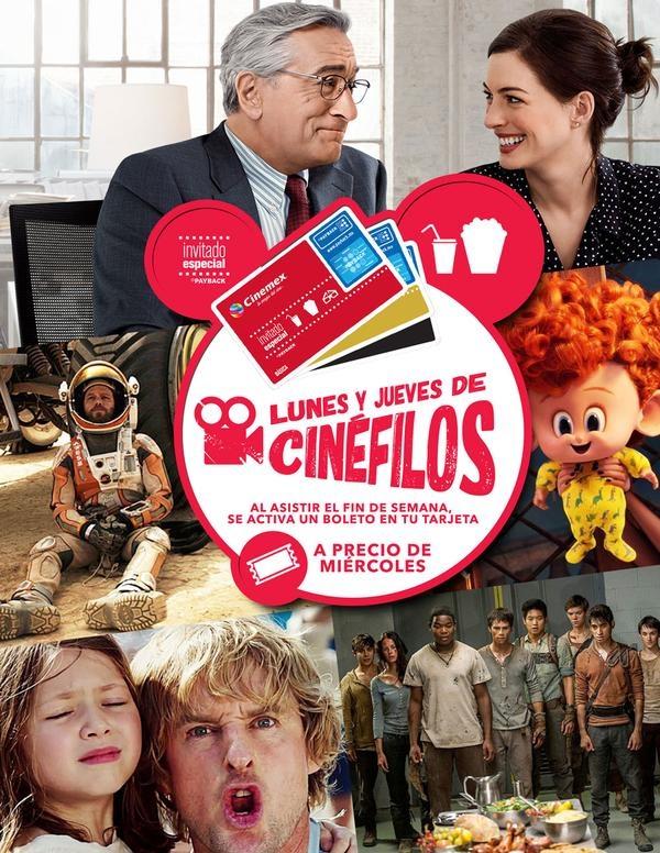 CINEMEX Lunes y Jueves de Cinefilos (precio de miércoles si fuiste en fin de semana)