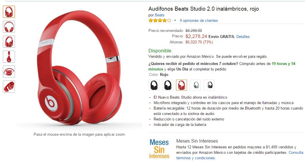 AMAZON: Audifonos Beats Studio Wireless 2.0 Rojos $2,278.24