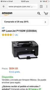 Amazon: impresora  wifi HP LaserJet P1102W $695