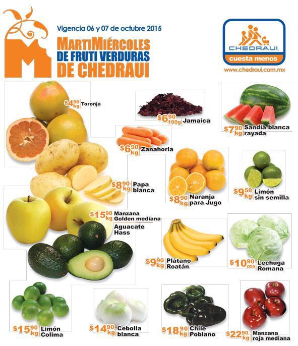 Chedraui: folleto de ofertas de frutas Martímiercoles 6 y 7 de octubre