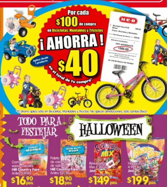 HEB: $40 de desceunto por cada $100 en bicis, montables y triciclos