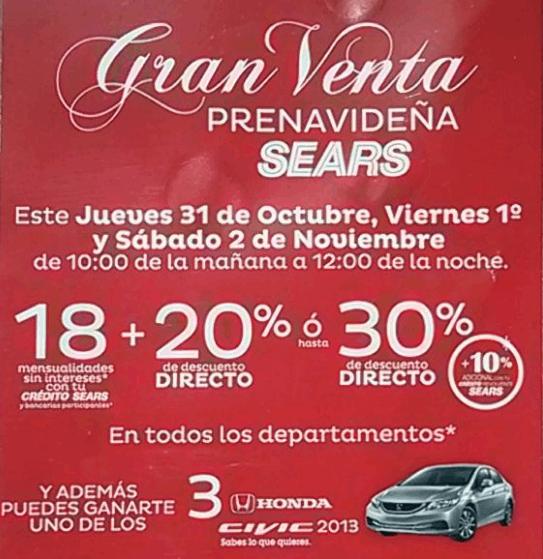 Gran venta prenavideña Sears del 31 de octubre al 2 de noviembre