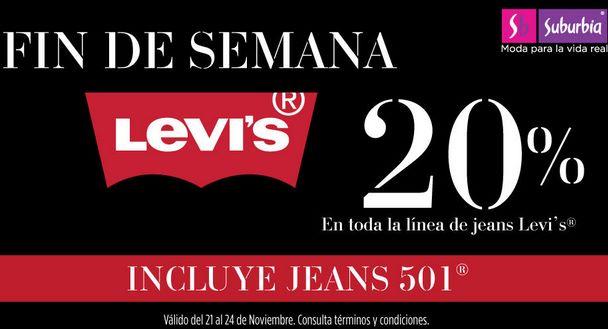 Suburbia: 20% de descuento en todos los jeans Levi's