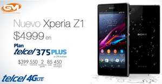 Telcel: Smartphone Xperia Z1 $4,999 en plan Telcel 375 Plus