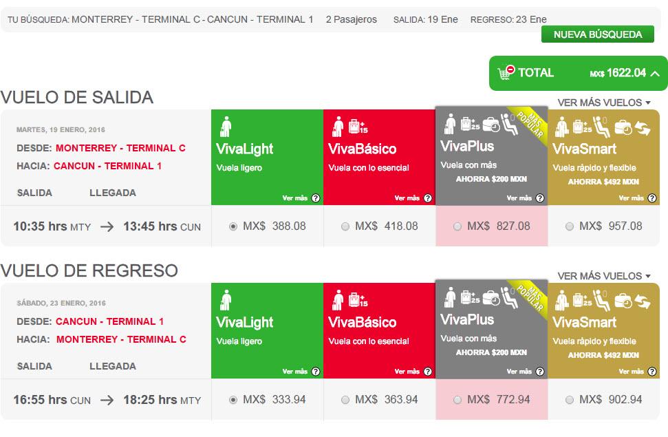 VIVAAEROBUS - Código DESCUENTO, ejemplo Mty-Cancun pareja a 1,622.04