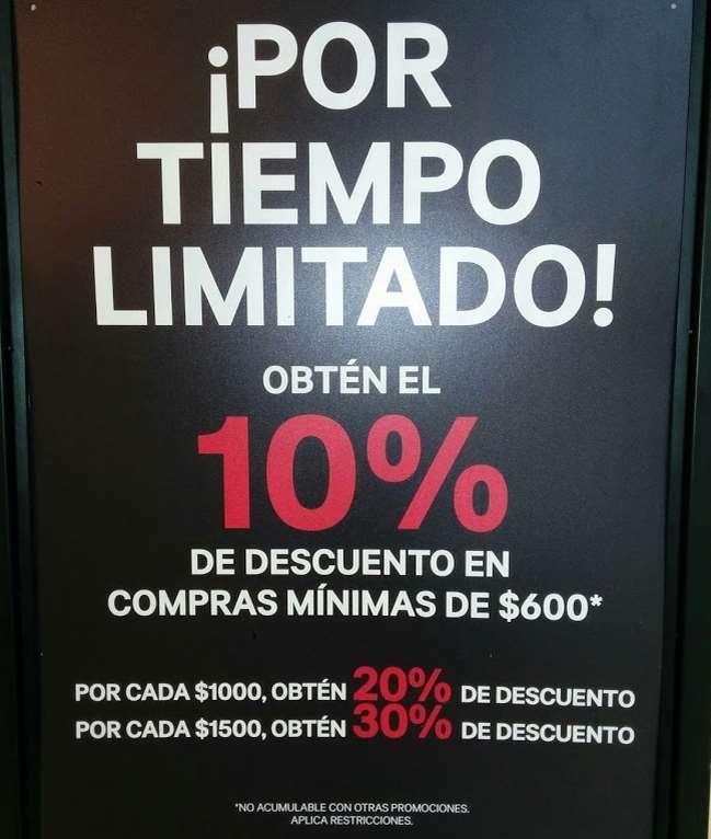 H&M: hasta 30% de descuento en todo la compra (escalonado con compra mínima)