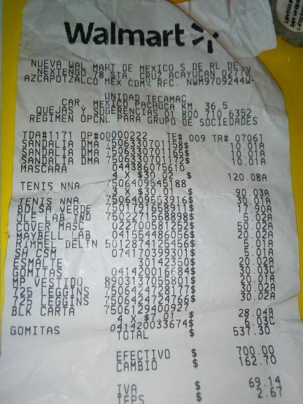 Walmart Unidad Tecámac: corrector Rimmel 5.01, esmalte Sally 5.01, olé 5.01, máscara Covergirl 50.02 y Máscara orgánica :30.02