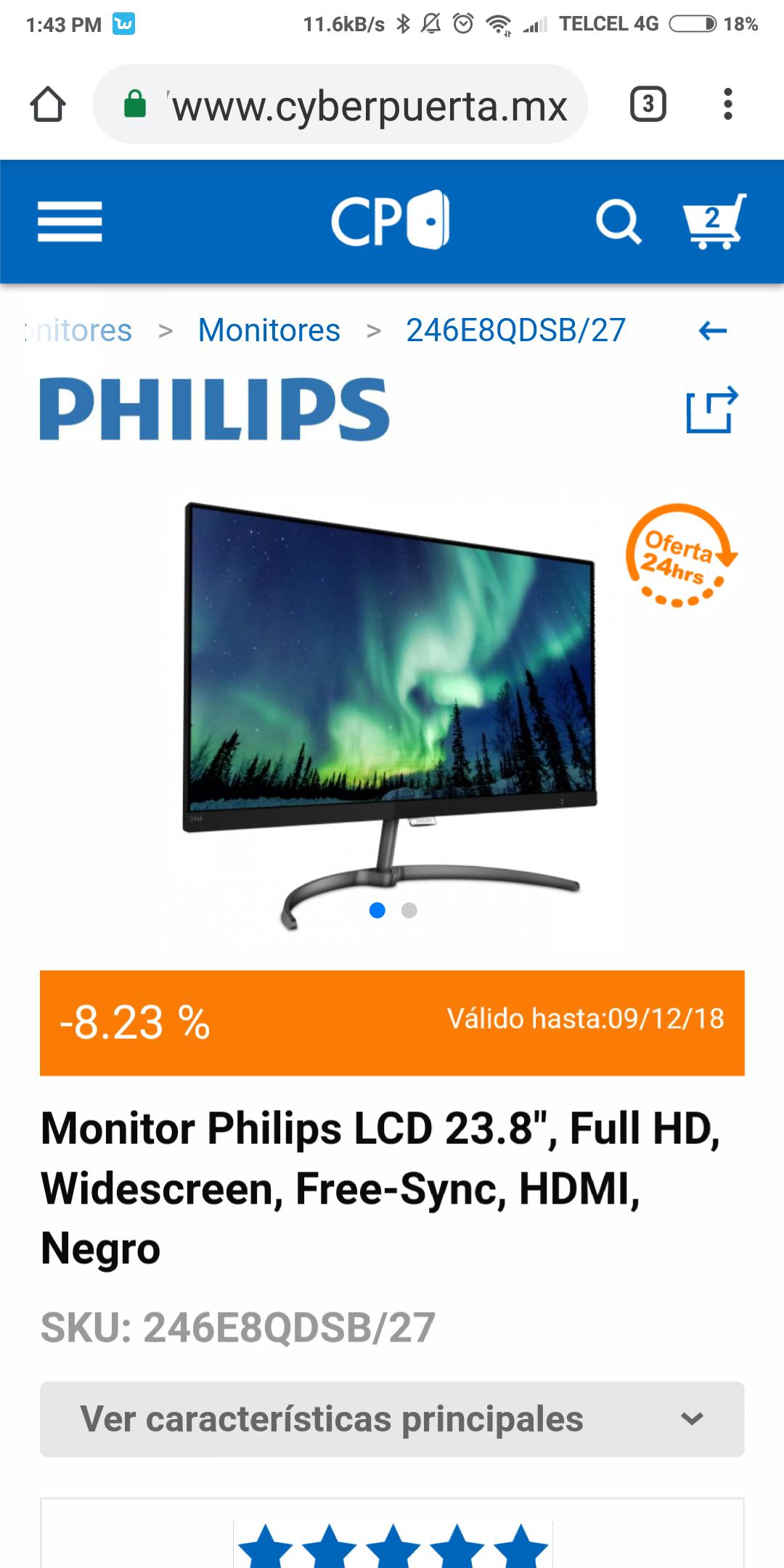 "CyberPuerta: Monitor Philips Full HD 24"" Freesync 75hz"
