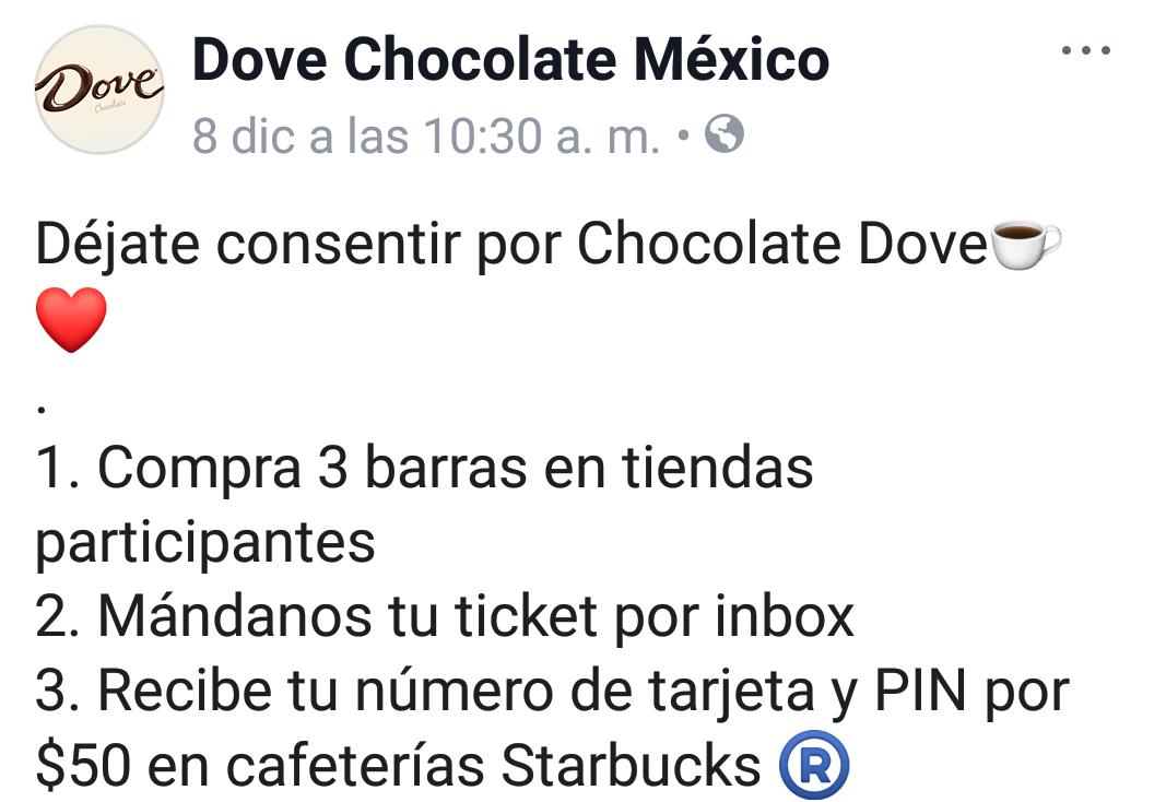 Starbucks: Compra 3 Chocolates dove gratis tarjeta Starbucks con 50
