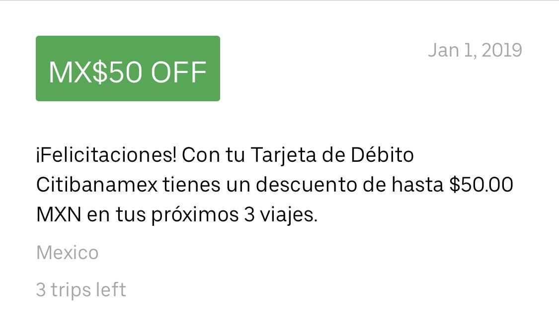 Uber: $50 de Descuento en 3 viajes usando Débito CitiBanamex