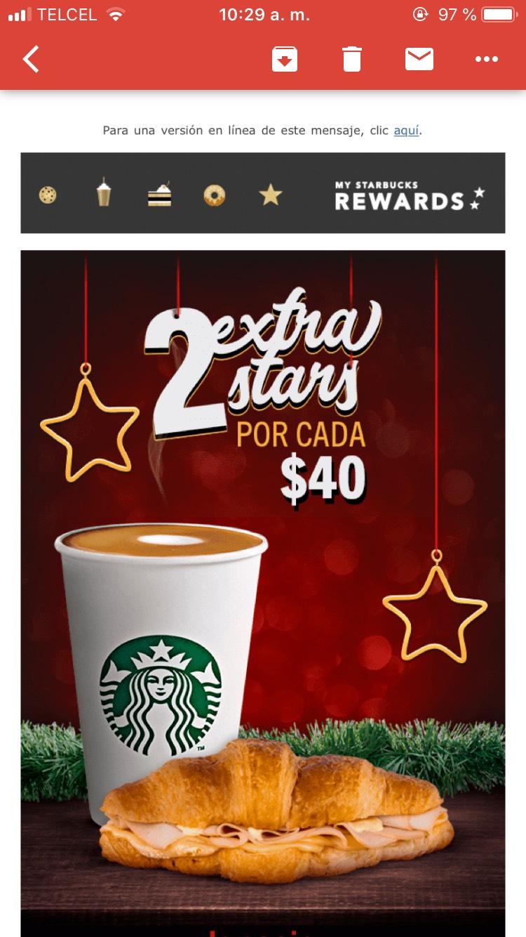 Starbucks: 2 extra stars por cada $40 pesos de consumo en tu mismo ticket.