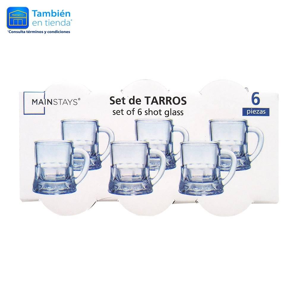 Walmart online: Set 6 piezas vasos tequileros con forma de tarro