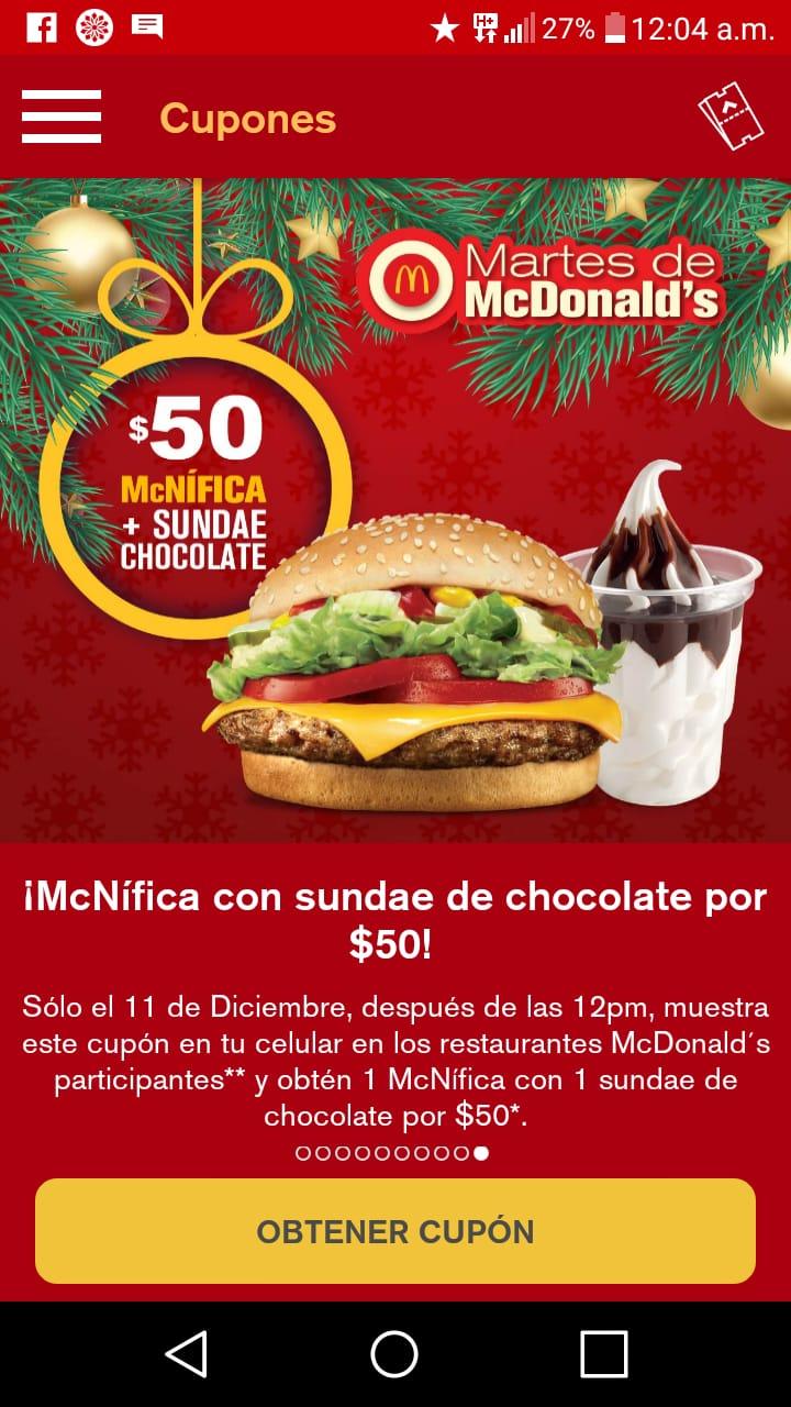 McDonald's: McNífica con sundae de chocolate (Cupon de app) McDonald´s