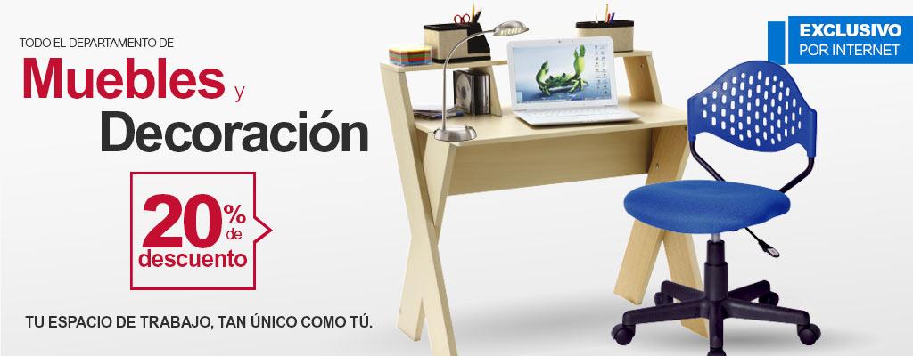 Office Depot: 20% de descuento en todo el departamento de  muebles y decoración