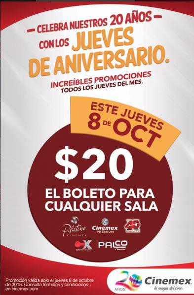 [Recuerda] Cinemex: Jueves 8, todas las salas a $20 (X4D, Platino, 3D, Palco, etc...)