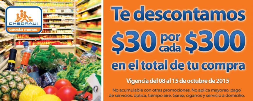 Chedraui: Cupón $30 por cada $300 y 20% en Panadería