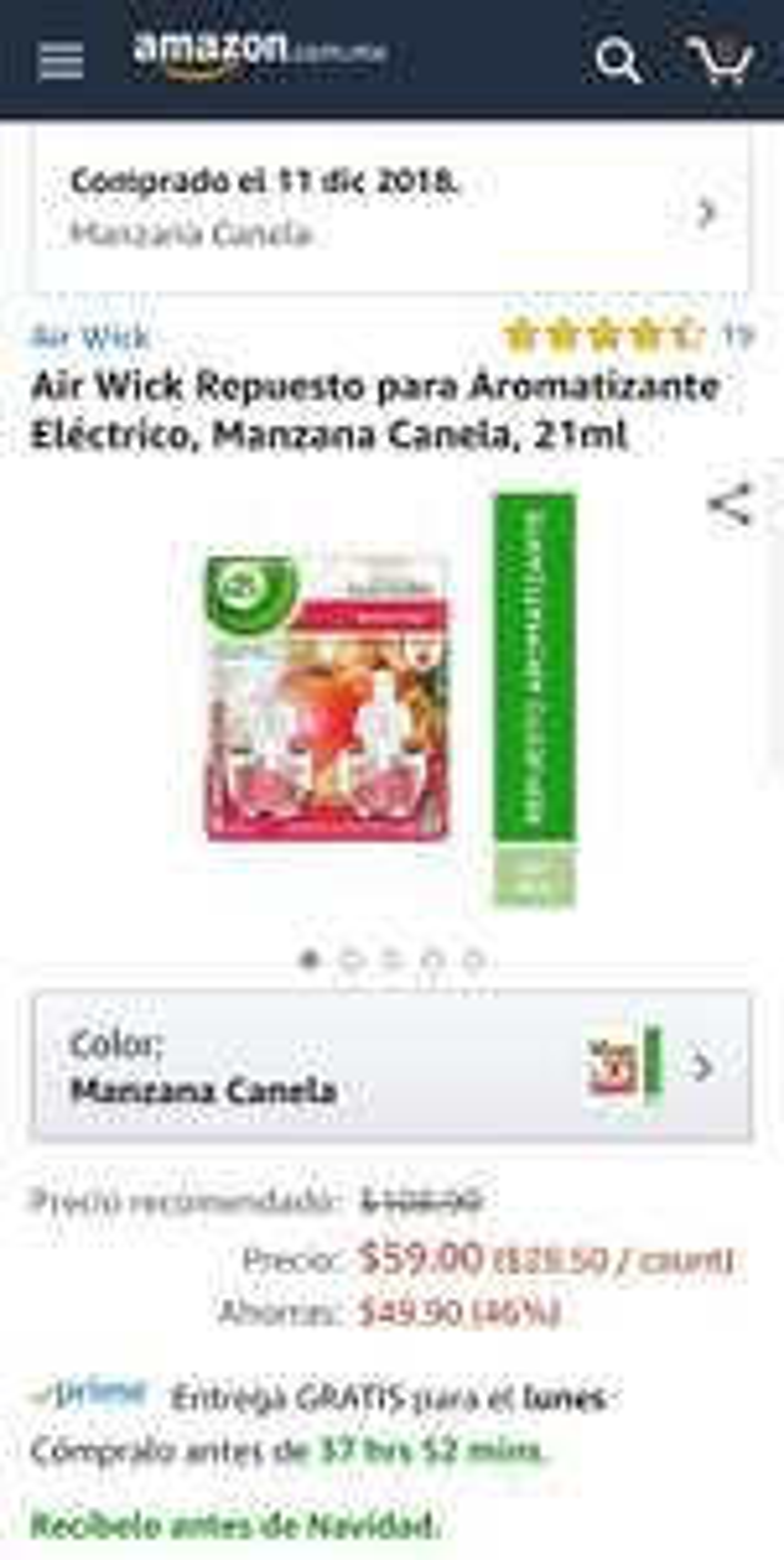 Amazon: Air Wick Repuesto para Aromatizante Eléctrico, Manzana Canela, 21ml