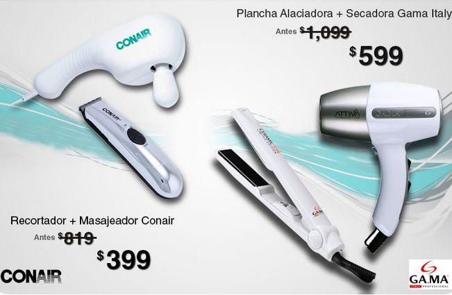 Walmart: plancha alaciadora + secadora $599 o recortador +masajeador $399