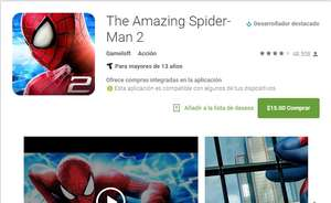 Google Play: juego The Amazing Spider-Man 2 $15