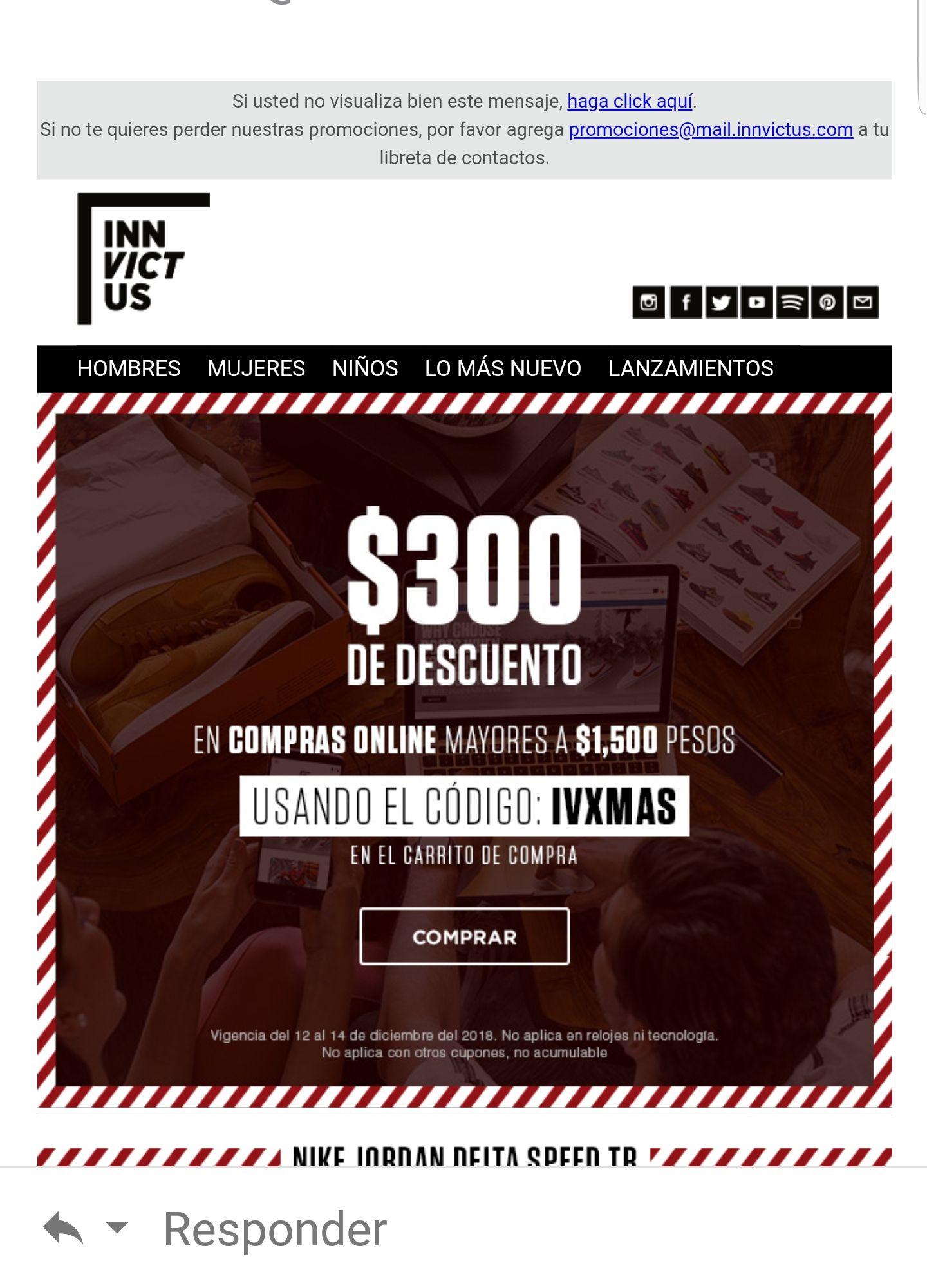 Innvictus: cupon de descuento de $300 en compras mayores a $1500