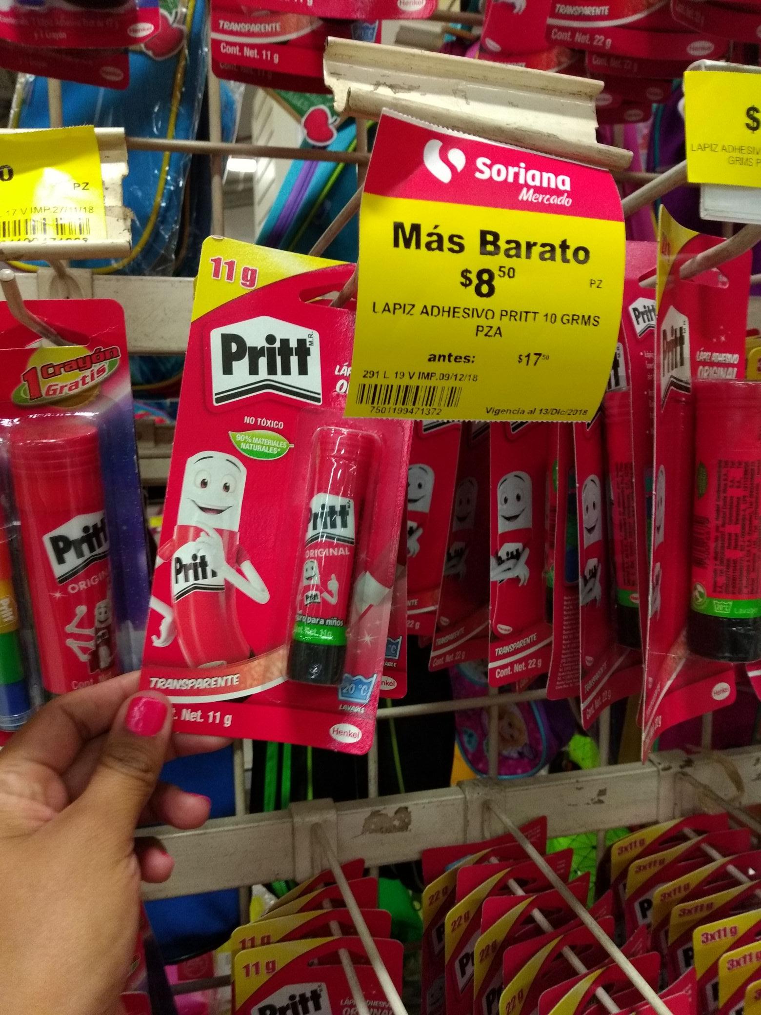 Soriana Mercado: Pritt 10 grs $8.5