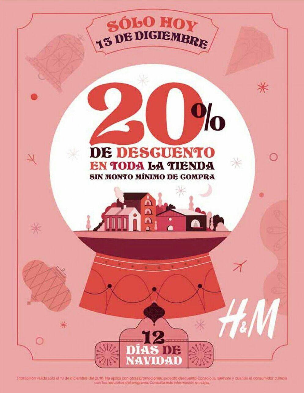 H&M: 12 días de Navidad... Día 1... 20% de descuento en toda la tienda sin monto mínimo de compra