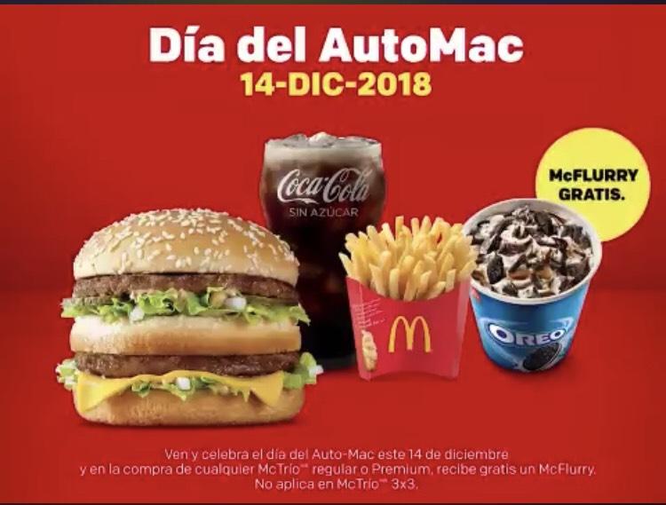 McDonald's: día del Automac McFlurry gratis al comprar Mctrío