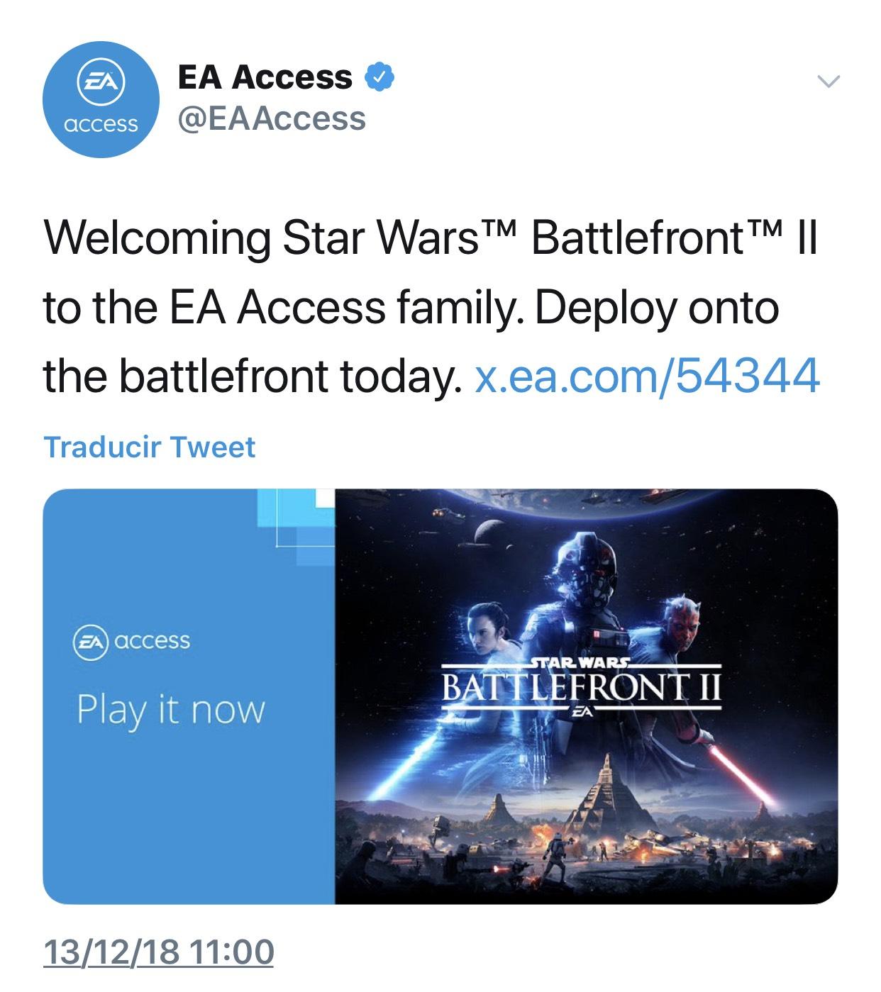 Ea access : Star Wars™ Battlefront™ II  gratis