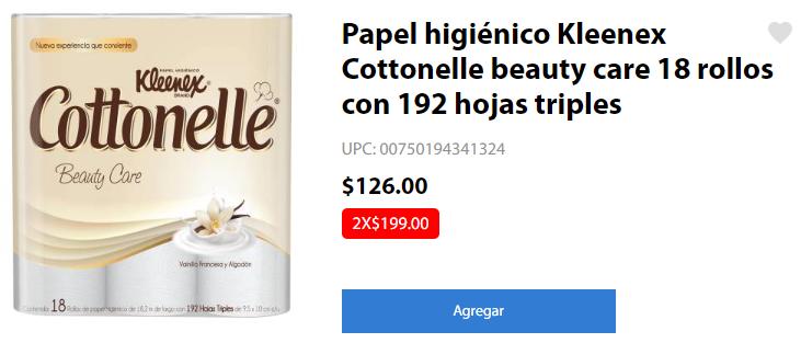 Walmart en Línea: 2 paquetes de Papel higiénico Kleenex Cottonelle beauty care (18 rollos c/u) con 192 hojas triples