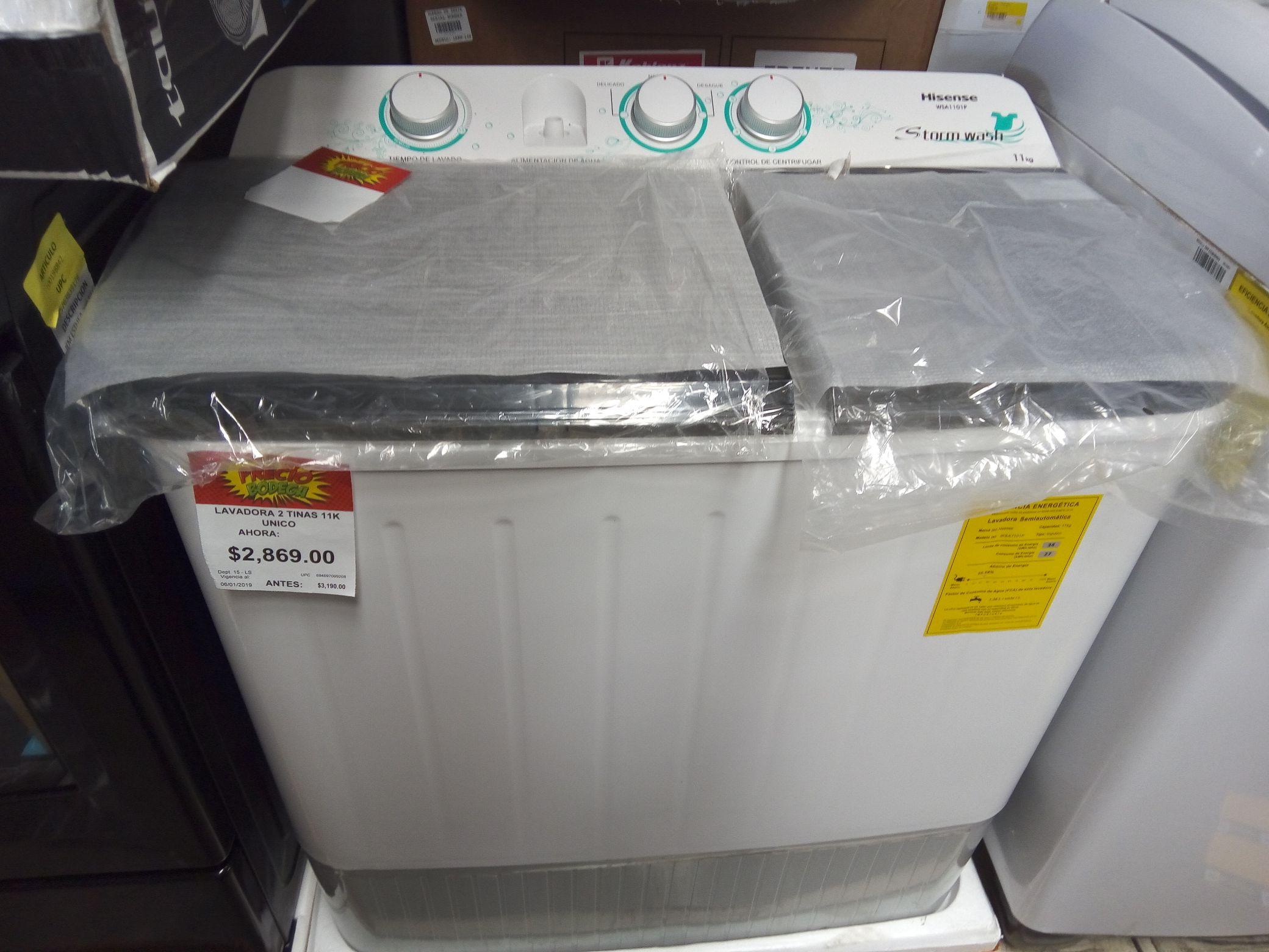 Bodega Aurrerá: Lavadora 2 tinas Hisense 11 kg