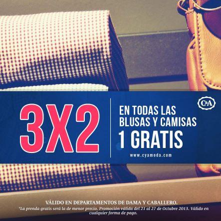 C&A: 3x2 en blusas y camisas