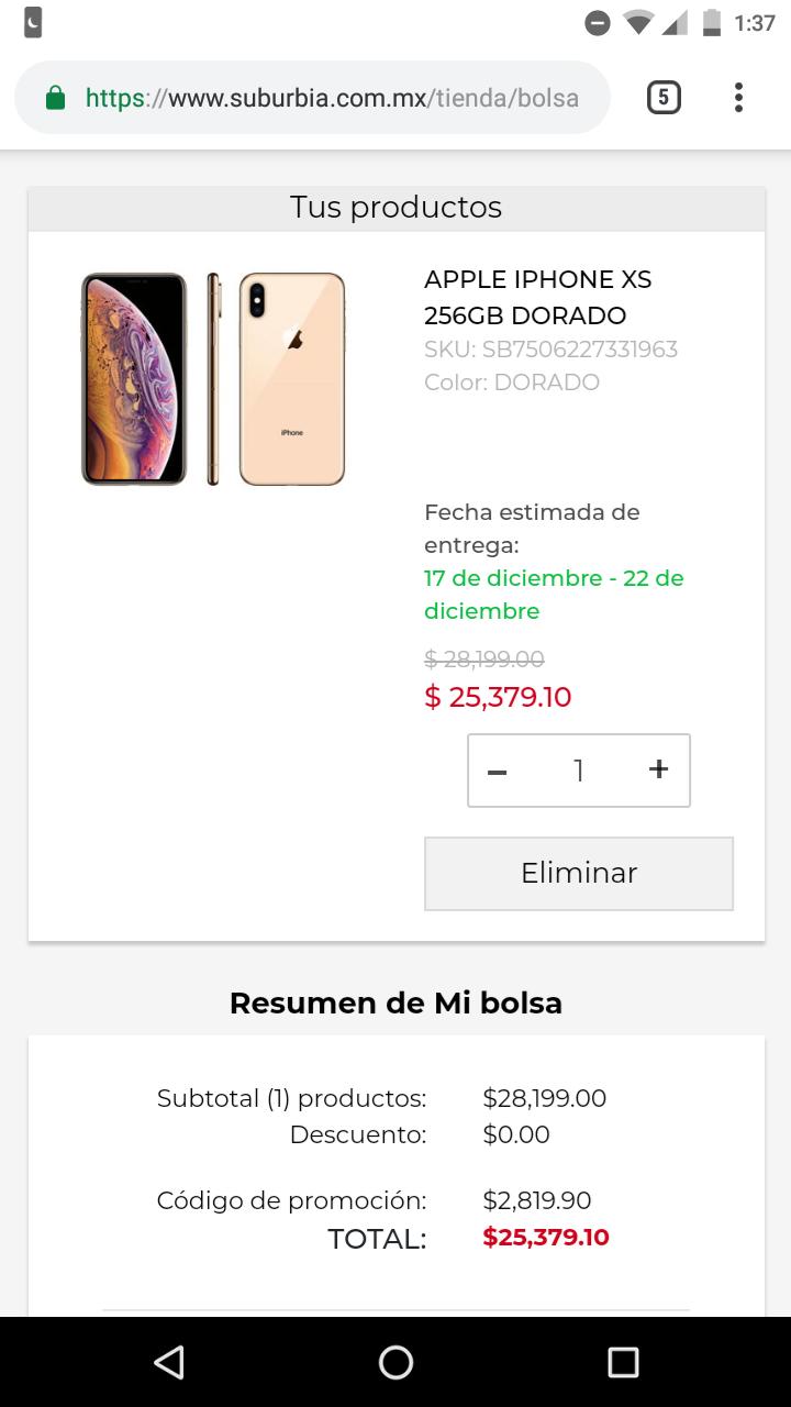 Suburbia: iPhone XS 256 gb dorado Telcel (con 20% de descuento y cupón)