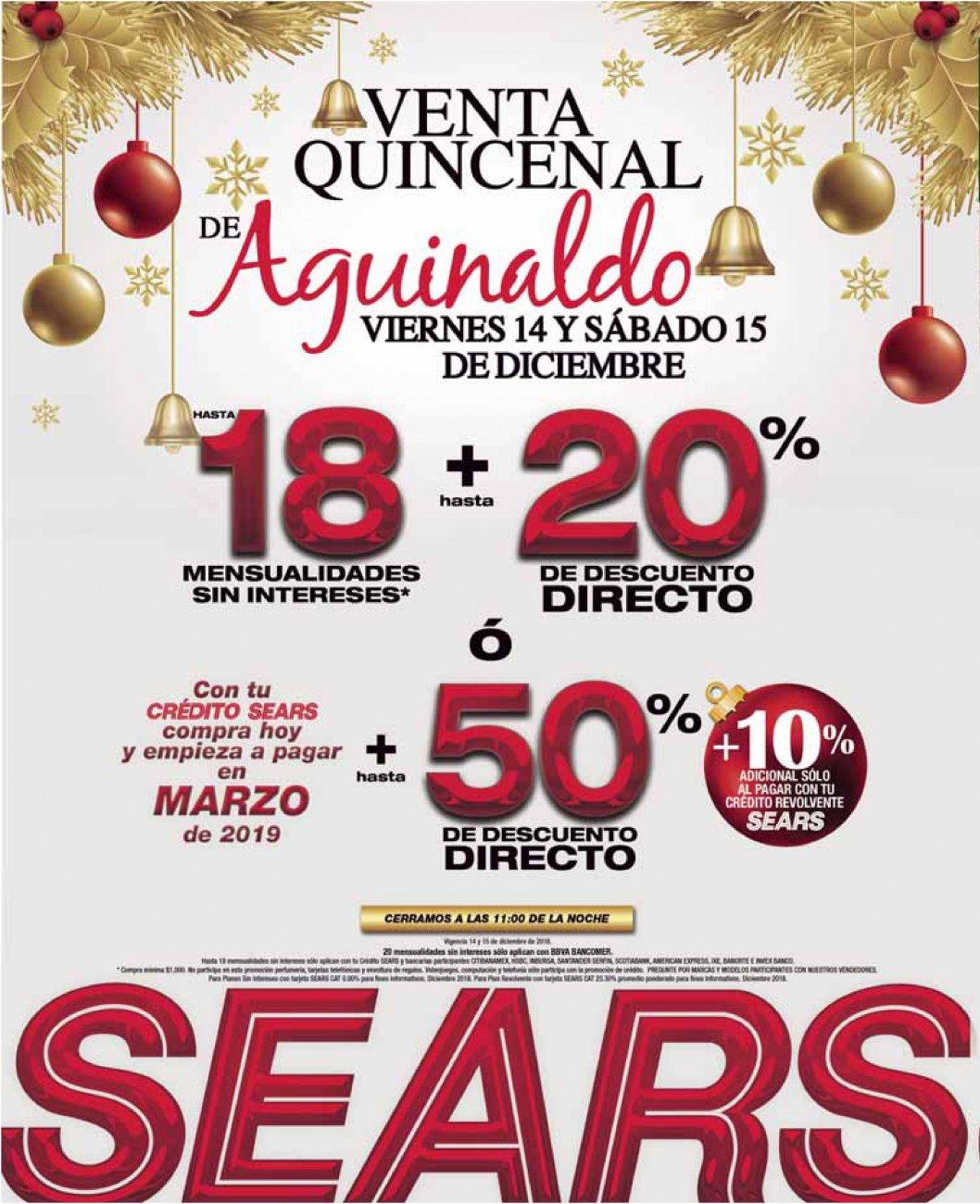 Sears: Hasta 18 MSI + hasta 20% desc. directo... ó hasta 50% de desc. directo + 10% adic. con crédito revolvente