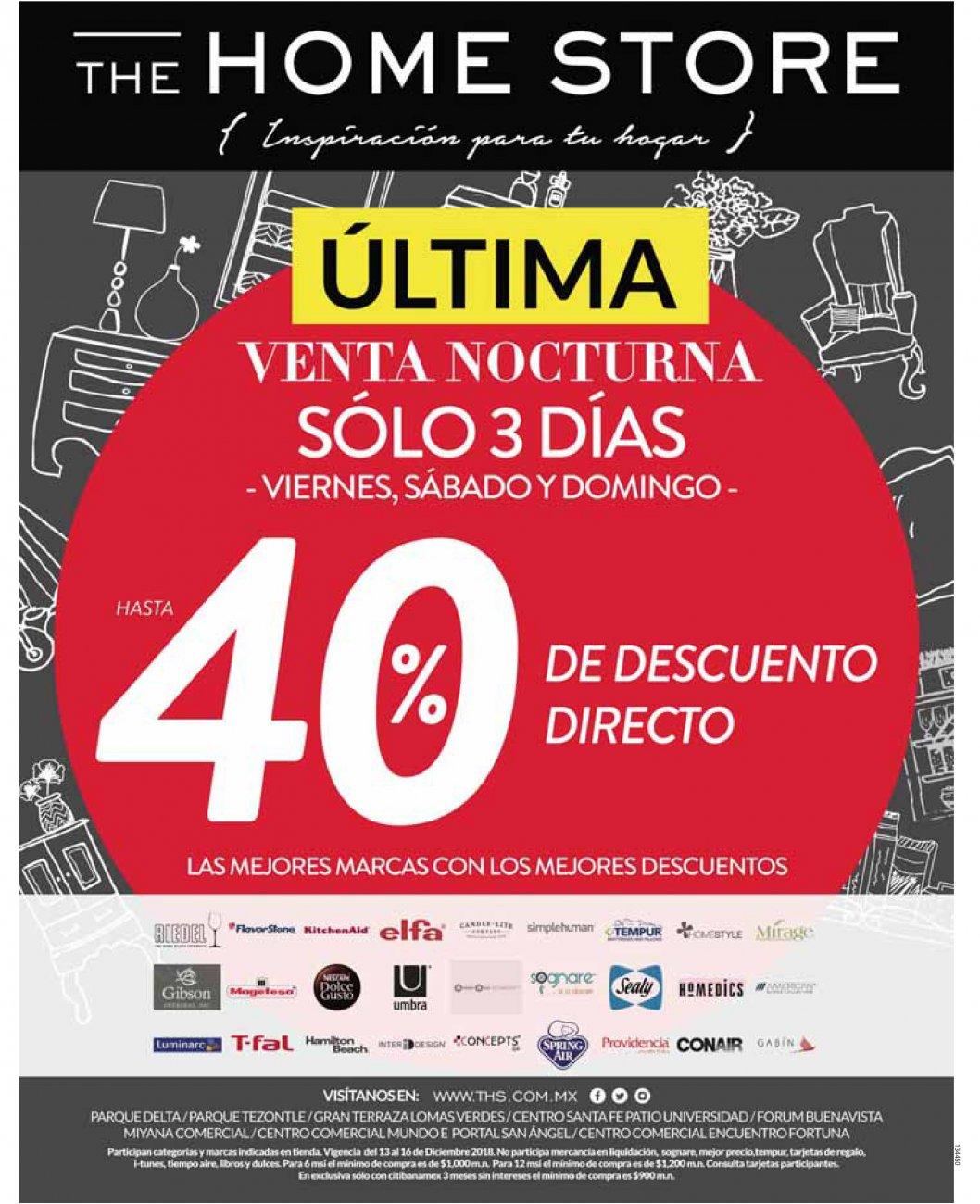 The Home Store: Última Venta Nocturna: Hasta 40% de descuento