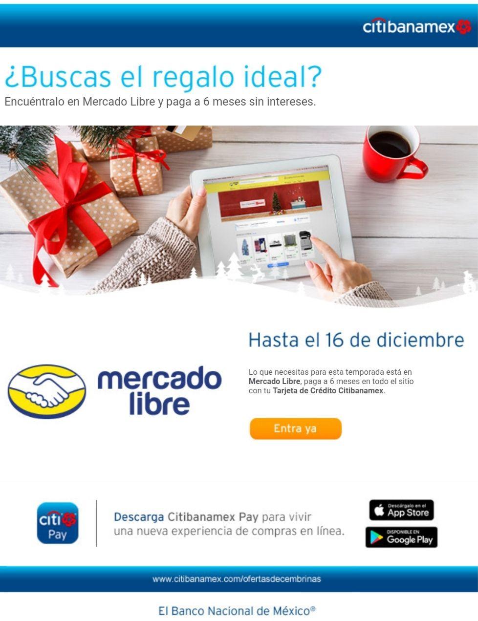 Mercado Libre: 6 MESES SIN INTERESES en pagando con Citibanamex