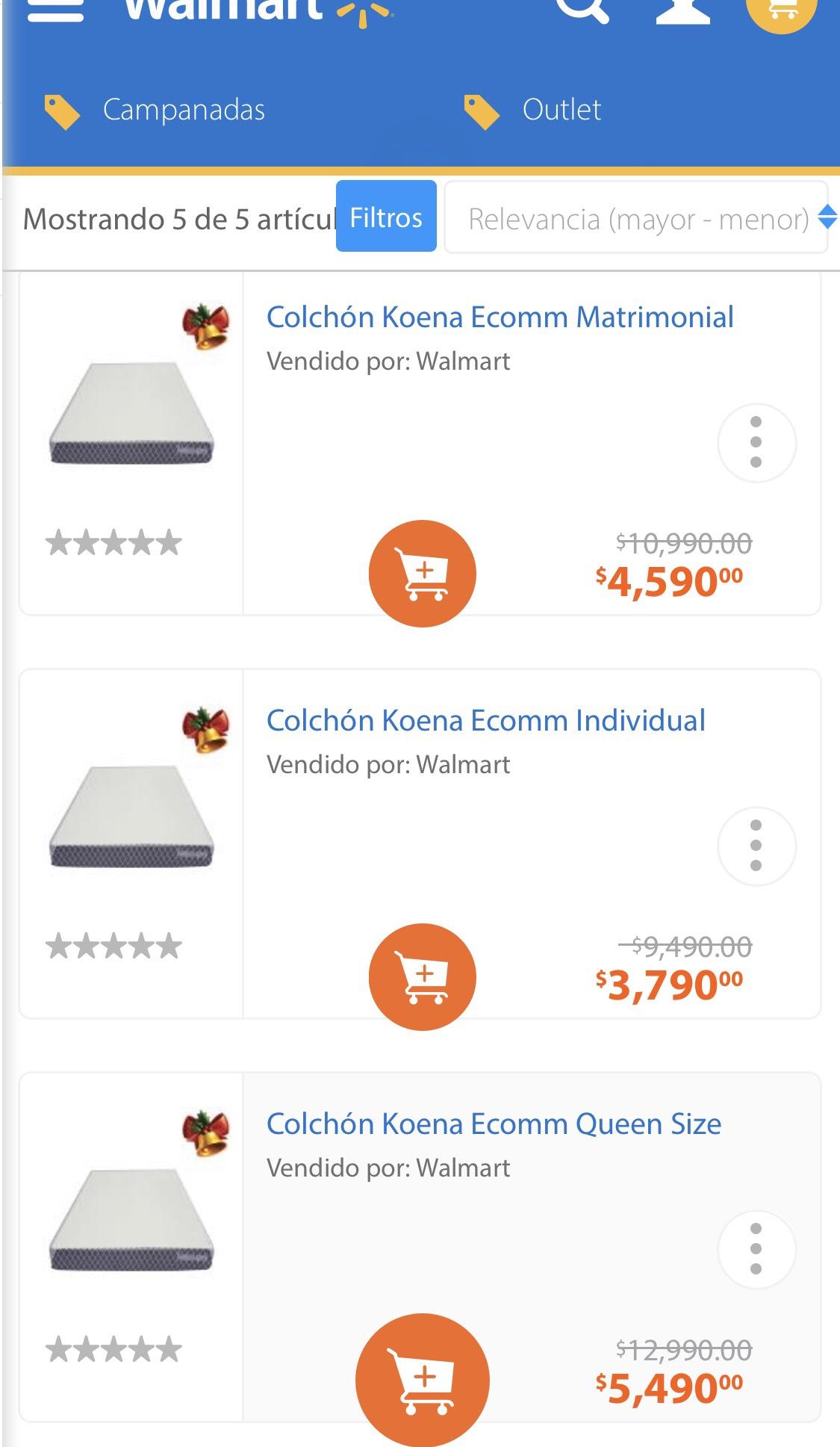 Walmart: Colchones Koena a mitad de precio