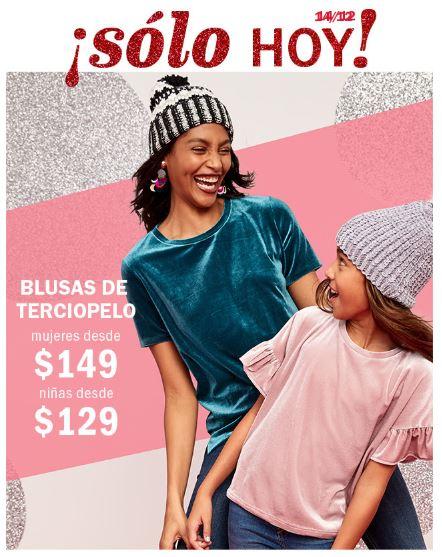 Old Navy: Promoción de Blusas de Terciopelo + Descuentos de hasta 40% de descuento en toda la tienda