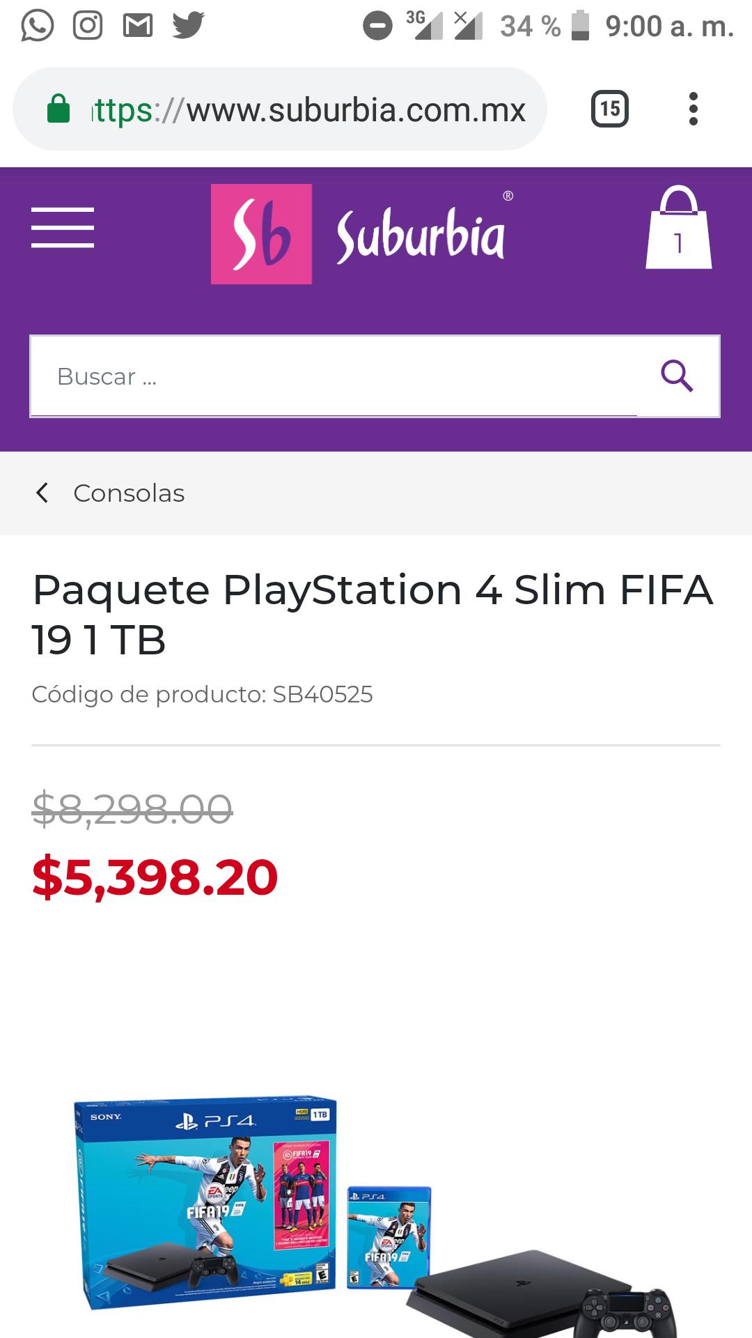 SUBURBIA : Consola PS4 Slim  1TB + FIFA 19 BUNDLE